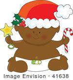 #41638 Clip Art Graphic Of An African American Christmas Baby