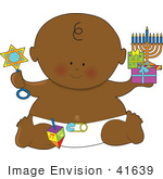 #41639 Clip Art Graphic Of An African American Hanukkah Baby