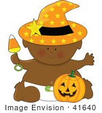 #41640 Clip Art Graphic Of An African American Halloween Baby