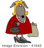 #41642 Clip Art Graphic Of A Brown Female Pooch Shopping