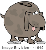#41645 Clip Art Graphic Of A Brown Pooch Coin Bank