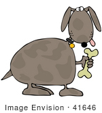 #41646 Clip Art Graphic Of A Brown Pooch With A Doggy Bone