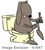 #41647 Clip Art Graphic Of A Brown Pooch Shaving On A Toilet