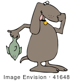 #41648 Clip Art Graphic of a Brown Pooch Holding a Stinky Fish by DJArt