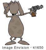 #41650 Clip Art Graphic Of A Brown Pooch Shooting A Gun