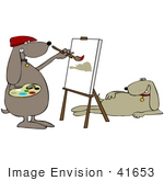 #41653 Clip Art Graphic Of A Brown Pooch Artist Painting A Model