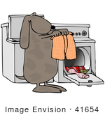 #41654 Clip Art Graphic of a Brown Pooch Doing Laundry by DJArt