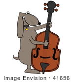 #41656 Clip Art Graphic of a Brown Pooch Playing a String Bass by DJArt