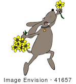 #41657 Clip Art Graphic Of A Brown Pooch Dancing With Flowers