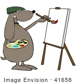 #41658 Clip Art Graphic of a Brown Pooch Artist Painting by DJArt