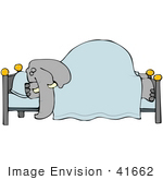 #41662 Clip Art Graphic Of A Gray Elephant Sleeping In A Bed