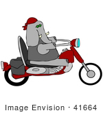 #41664 Clip Art Graphic Of A Gray Elephant Biker On A Motorcycle