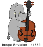 #41665 Clip Art Graphic Of A Gray Elephant Playing A Bass