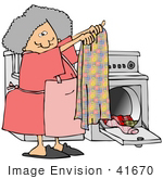 #41670 Clip Art Graphic Of A Caucasian Woman Doing Laundry