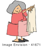 #41671 Clip Art Graphic Of A Caucasian Woman In Pink Holding Up A Towel