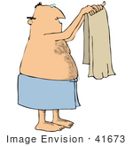 #41673 Clip Art Graphic Of A Caucasian Man Holding Up A Towel