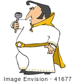 #41677 Clip Art Graphic of a Chubby Elvis Impersonator Performing by DJArt