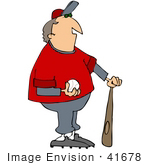 #41678 Clip Art Graphic Of A Baseball Coach With A Ball And Bat