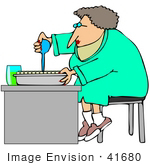 #41680 Clip Art Graphic Of A Scientist Squirting Liquid Into Sample Tubes