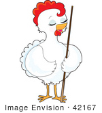 #42167 Clip Art Graphic Of A Pretty White Hen Standing With A Pool Stick