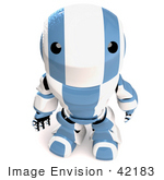 #42183 Clip Art Graphic Of A Blue Futuristic Robot Looking Up