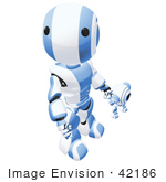 #42186 Clip Art Graphic Of A Blue Futuristic Robot Holding Hands With A Cam Looking Up