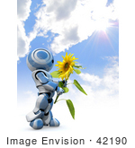 #42190 Clip Art Graphic Of A Blue Futuristic Robot Against A Sky Holding A Sunflower