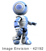 #42192 Clip Art Graphic Of A Blue Futuristic Robot Scratched Up