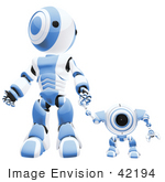 #42194 Clip Art Graphic Of A Blue Futuristic Robot Walking Hand In Hand With A Cam