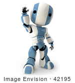 #42195 Clip Art Graphic of a Blue Futuristic Robot Waving by Jester Arts