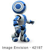 #42197 Clip Art Graphic Of A Blue Futuristic Robot Walking