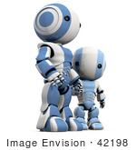 #42198 Clip Art Graphic Of A Blue Futuristic Robot Holding Hands With A Child