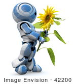 #42200 Clip Art Graphic Of A Blue Futuristic Robot Holding A Sunflower