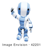 #42201 Clip Art Graphic of a Blue Futuristic Robot Raising His Hand To Wave by Jester Arts