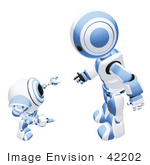 #42202 Clip Art Graphic Of A Blue Futuristic Robot And Cam Talking