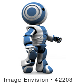#42203 Clipart Illustration Of A Blue Futuristic Robot Walking And Looking Up