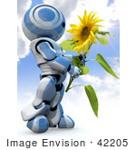 #42205 Clip Art Graphic Of A Blue Futuristic Robot Admiring A Sunflower