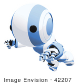 #42207 Clip Art Graphic Of A Blue Futuristic Robot Floating Or Falling