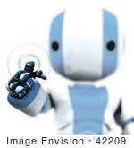 #42209 Clip Art Graphic of a Blue Futuristic Robot Pushing A Button by Jester Arts