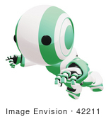#42211 Clip Art Graphic Of A Green Futuristic Robot Floating