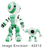 #42212 Clip Art Graphic of a Green Futuristic Robot Holding Hands With A Cam by Jester Arts