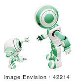 #42214 Clip Art Graphic Of A Green Futuristic Robot Chatting With A Cam
