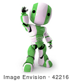 #42216 Clip Art Graphic Of A Green Futuristic Robot Waving