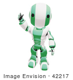 #42217 Clip Art Graphic of a Green Futuristic Robot Walking And Waving by Jester Arts