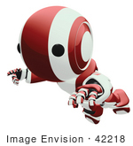 #42218 Clip Art Graphic Of A Red Futuristic Robot Floating