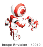 #42219 Clip Art Graphic Of A Red Futuristic Robot Reaching Down To Greet A Cam