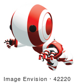 #42220 Clip Art Graphic Of A Red Futuristic Robot Falling