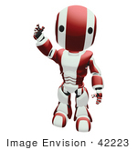 #42223 Clip Art Graphic Of A Red Futuristic Robot Standing And Waving