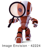 #42224 Clip Art Graphic Of A Red Futuristic Robot Inspecting