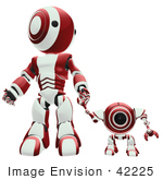 #42225 Clip Art Graphic Of A Red Futuristic Robot Holding Hands With A Cam